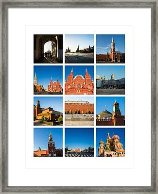 Collage - Red Square In The Morning Framed Print by Alexander Senin