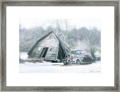 Collapsed Barn And Old Truck - Americana Framed Print by Gary Heller