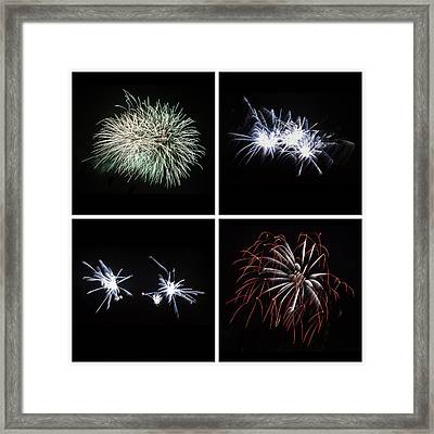 Collection Of Bright Colorful Firework Burst Explosions On Black Framed Print by Matthew Gibson