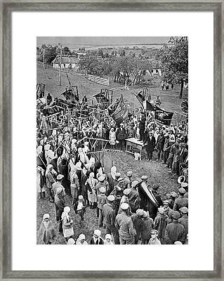 Collective Farm Meeting Framed Print by Library Of Congress