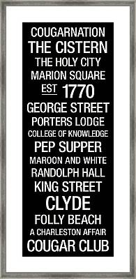College Of Charleston College Town Wall Art Framed Print by Replay Photos