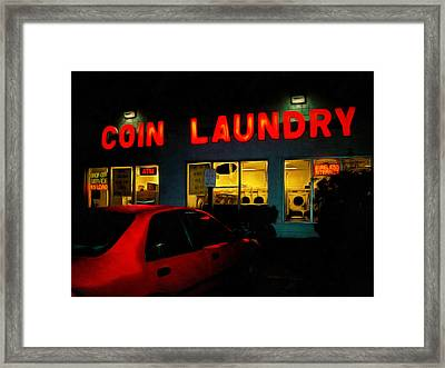 College Town Saturday Night Framed Print by MJ Olsen