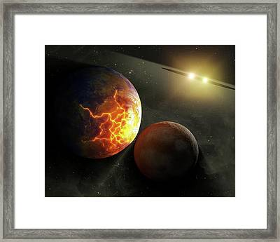 Colliding Planets Framed Print by Nasa/jpl-caltech
