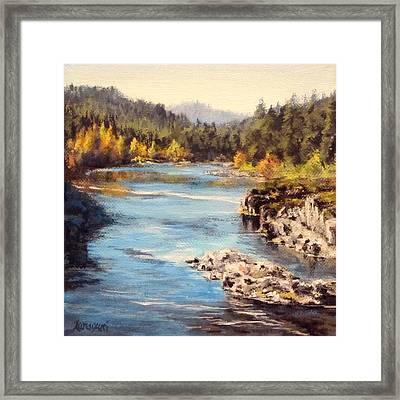 Colliding Rivers Fall Framed Print by Karen Ilari