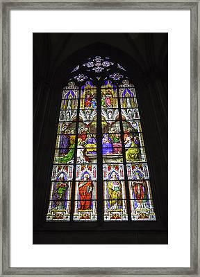 Cologne Cathedral Stained Glass Window Of Pentecost Framed Print by Teresa Mucha