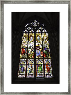 Cologne Cathedral Stained Glass Window Of The Adoration Of The Magi Framed Print by Teresa Mucha