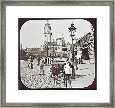 Framed Print featuring the photograph Cologne Germany Street Scene 1903 Vintage Photograph by A Gurmankin