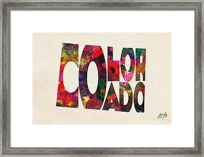Colorado Typographic Watercolor Map Framed Print by Ayse Deniz