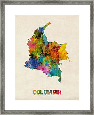 Colombia Watercolor Map Framed Print by Michael Tompsett