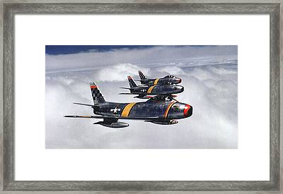 Colonel Ben O. Davis Leads F 86 Sabres Over Korea Upsized Framed Print by L Brown