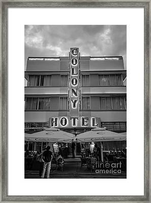Colony Hotel Art Deco District Sobe Miami Florida - Black And White Framed Print by Ian Monk