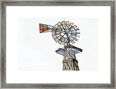 Color Drawing Of Old Windmill 3009.04 Framed Print by M K  Miller