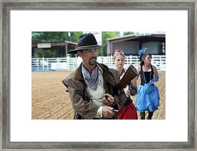 Color Rodeo Gunslinger With Saloon Girls Framed Print by Sally Rockefeller