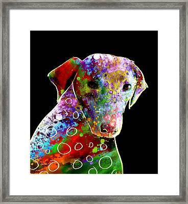 Color Splash Abstract Dog Art  Framed Print by Ann Powell