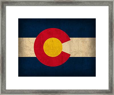 Colorado State Flag Art On Worn Canvas Framed Print by Design Turnpike