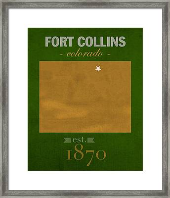 Colorado State University Rams Fort Collins College Town State Map Poster Series No 032 Framed Print by Design Turnpike