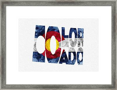 Colorado Typographic Map Flag Framed Print by Ayse Deniz
