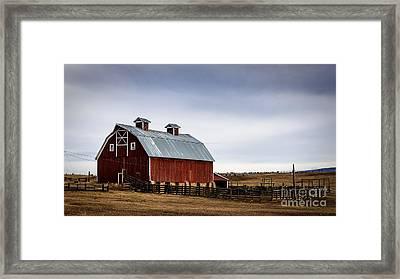Colorado Winter Barn Framed Print by Janice Rae Pariza