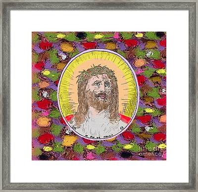 Colored Background Jesus Framed Print by Donna Munro