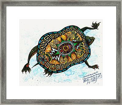Colored Cultural Zoo C Eastern Woodlands Tortoise Framed Print by Melinda Dare Benfield