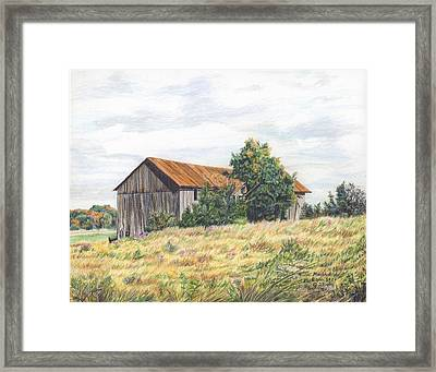 Colored Pencil Barn Framed Print by Marshall Bannister