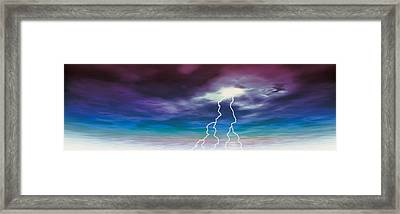 Colored Stormy Sky W Angry Lightning Framed Print by Panoramic Images