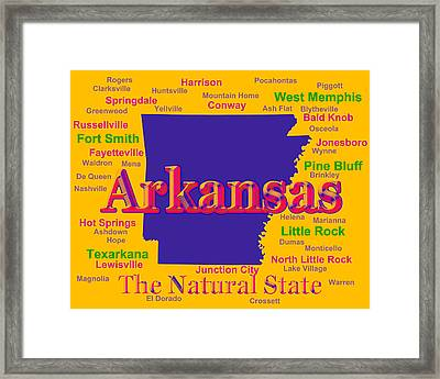 Colorful Arkansas State Pride Map Silhouette  Framed Print by Keith Webber Jr