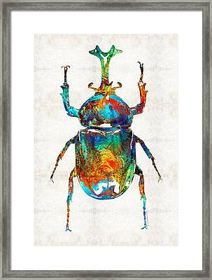 Colorful Beetle Art - Scarab Beauty - By Sharon Cummings Framed Print by Sharon Cummings