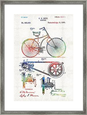 Colorful Bike Art - Vintage Patent - By Sharon Cummings Framed Print by Sharon Cummings