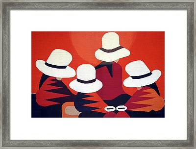 Colorful Blanket Picturing Indigenous Framed Print by Miva Stock