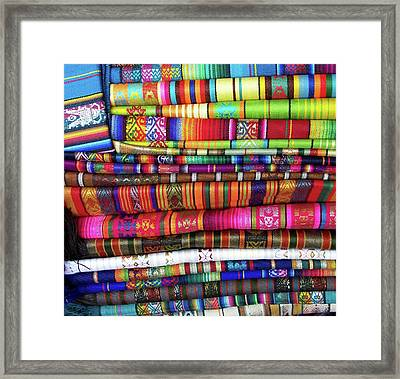 Colorful Blankets At Indigenous Market Framed Print by Miva Stock
