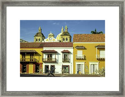 Colorful Buildings And Church Domes Framed Print by Jerry Ginsberg