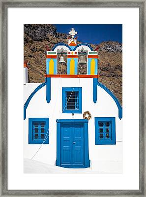 Colorful Chapel In Thirasia Framed Print by Bjoern Kindler