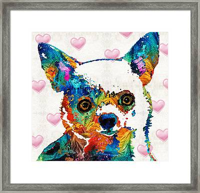 Colorful Chihuahua Art By Sharon Cummings Framed Print by Sharon Cummings