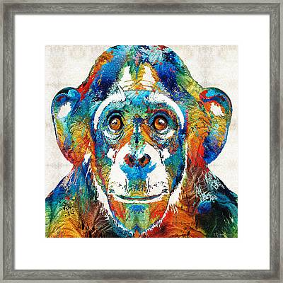 Colorful Chimp Art - Monkey Business - By Sharon Cummings Framed Print by Sharon Cummings