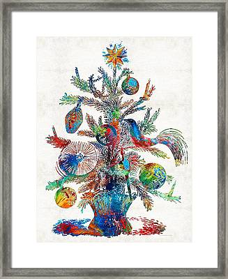 Colorful Christmas Tree Art By Sharon Cummings Framed Print by Sharon Cummings