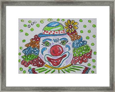 Colorful Clown Framed Print by Kathy Marrs Chandler