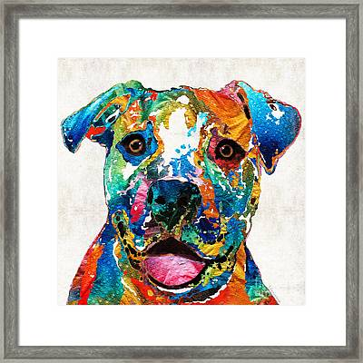 Colorful Dog Pit Bull Art - Happy - By Sharon Cummings Framed Print by Sharon Cummings