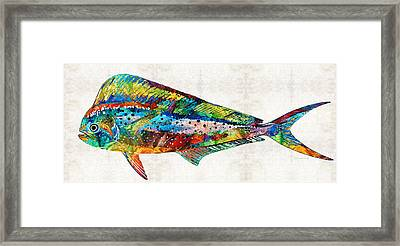 Underwater Diva Framed Print featuring the painting Colorful Dolphin Fish By Sharon Cummings by Sharon Cummings