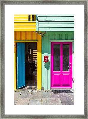 Colorful Doors And Walls Framed Print by Aldona Pivoriene