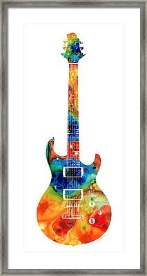 Colorful Electric Guitar 2 - Abstract Art By Sharon Cummings Framed Print by Sharon Cummings