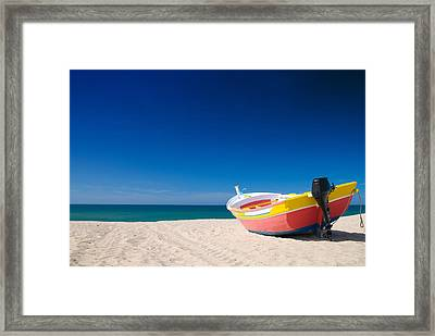 Colorful Fishing Boat Algarve Portugal Framed Print by Amanda And Christopher Elwell