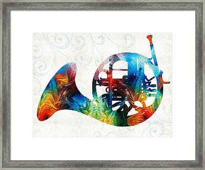 Colorful French Horn - Color Fusion By Sharon Cummings Framed Print by Sharon Cummings