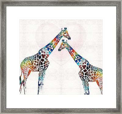 Colorful Giraffe Art - I've Got Your Back - By Sharon Cummings Framed Print by Sharon Cummings