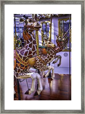 Colorful Giraffes Carrousel Framed Print by Garry Gay