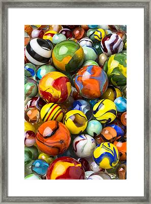 Colorful Glass Marbles Framed Print by Garry Gay