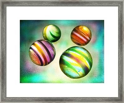 Colorful Glass Marbles Framed Print by Marianna Mills