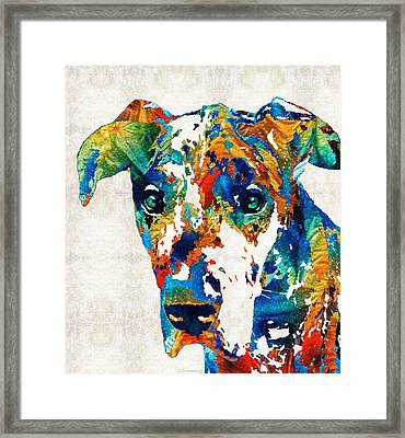 Colorful Great Dane Art Dog By Sharon Cummings Framed Print by Sharon Cummings