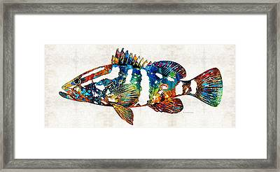 Underwater Diva Framed Print featuring the painting Colorful Grouper 2 Art Fish By Sharon Cummings by Sharon Cummings