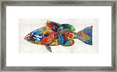 Colorful Grouper Art Fish By Sharon Cummings Framed Print by Sharon Cummings